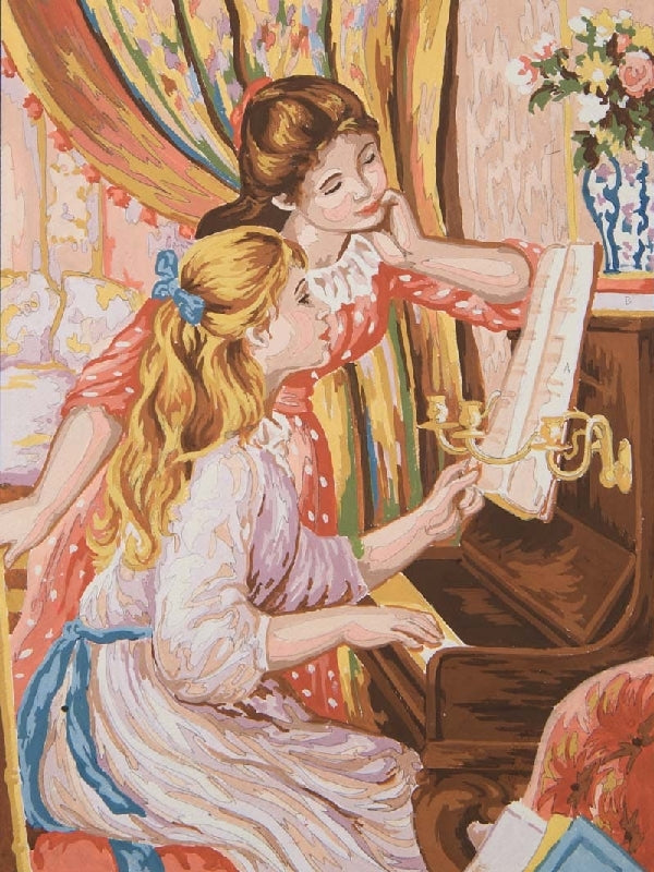 Girls at the Piano (Renoir) - A Grafitec Tapestry Canvas