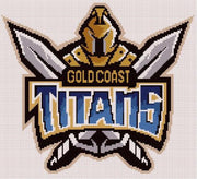 Gold Coast Titans NRL Logo Cross Stitch Design - stitchaphoto
