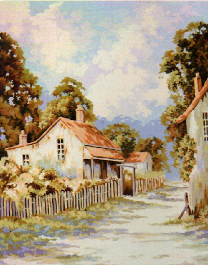 Picket Fence Homestead - An Australian Themed Tapestry Canvas