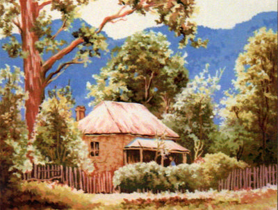 Blue Mountain Homestead - An Australian Themed Tapestry Canvas