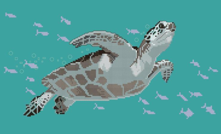 Green Sea Turtle Cross Stitch Design - stitchaphoto