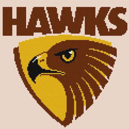 Hawthorn Hawks AFL Cross Stitch Design - stitchaphoto