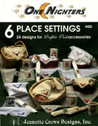 6 Place Settings - A One Nighter collection of small cross stitch designs