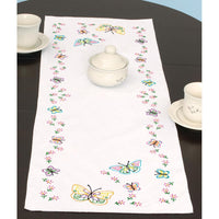"Fluttering Butterflies - Table Runner Scarf 15"" x 42"" - A JDNA design stamped for Embroidery"