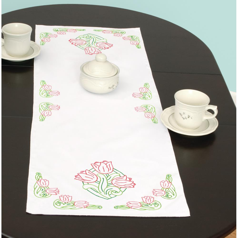 "Tulips - Table Runner Scarf 15"" x 42"" - A JDNA design stamped for Embroidery"