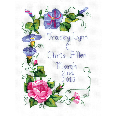 Wedding Floral Announcement - A Cross Stitch Kit from Janlynn