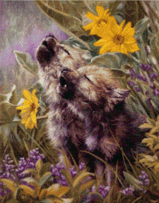 Howling Wolf Pups - A Kustom Kraft cross stitch chart