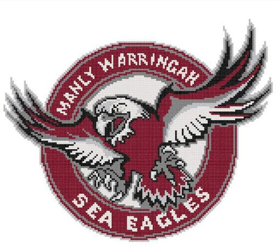Manly Sea Eagles NRL Logo Cross Stitch Design - stitchaphoto