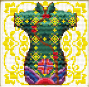 Female Geisha in Green - a Needleart no count cross stitch kit