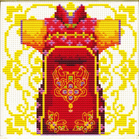 Male Geisha in Red - a Needleart no count cross stitch kit