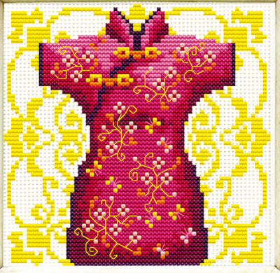 Female Geisha in Red - a Needleart no count cross stitch kit