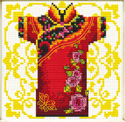 Male Geisha in Rose - a Needleart no count cross stitch kit