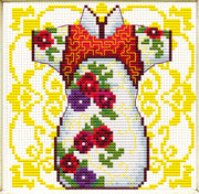 Female Geisha in Rose - a Needleart no count cross stitch kit