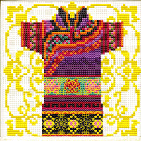 Male Geisha in Mauve - a Needleart no count cross stitch kit