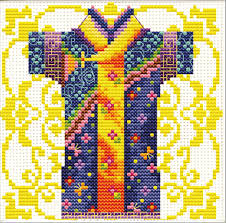 Male Geisha in Blue - a Needleart no count cross stitch kit