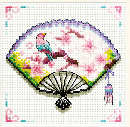 Cherry Blossom Fan - a Needleart no count cross stitch kit
