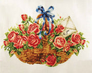 Basket of Roses - a Needleart no count cross stitch kit
