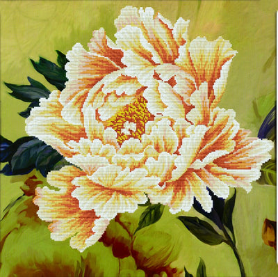 Blooming Peony 2 - a Needleart no count cross stitch kit with pre-printed background