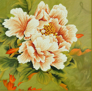 Blooming Peony 1 - a Needleart no count cross stitch kit with pre-printed background