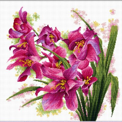 Lovely Orchids - a Needleart no count cross stitch kit