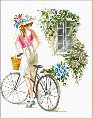 Bicycle Girl - a Needleart no count cross stitch kit