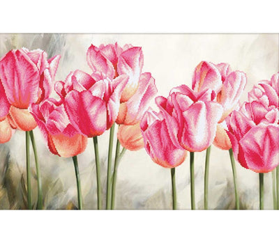 Pink Tulips - a Needleart no count cross stitch kit with pre-printed background