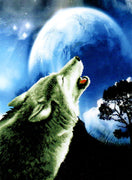 Howling Wolf- a Needleart no count cross stitch kit with pre-printed background