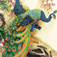 Peacock Majesty - a Needleart no count cross stitch kit with pre-printed background