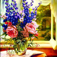Floral Vase by the Window - a Needleart no count cross stitch kit with pre-printed background