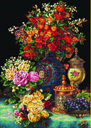 Classic Flowers - a Needleart no count cross stitch kit with pre-printed background