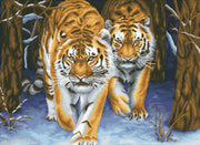 Stalking Tigers - a Needleart no count cross stitch kit with pre-printed background