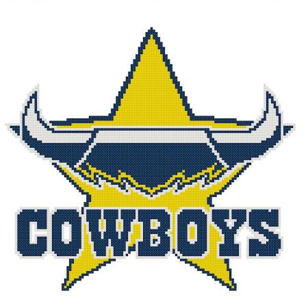 North Queensland Cowboys NRL Logo Cross Stitch Design - stitchaphoto