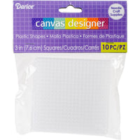 Plastic Canvas - 7 Count - 3 inch  Square Shape - Pkt of 10