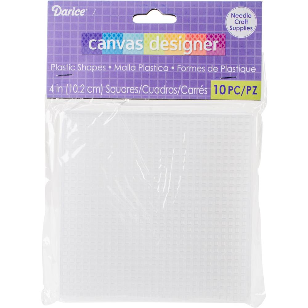 Plastic Canvas - 7 Count - 4 inch  Square Shape - Pkt of 10