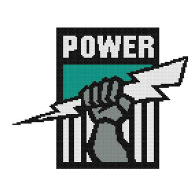 Port Adelaide Power AFL Cross Stitch Design - stitchaphoto