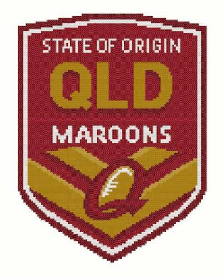 QLD State of Origin NRL Logo Cross Stitch Design - stitchaphoto