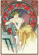 Girl with Easel - Mucha - A RIOLIS Premium cross stitch Kit