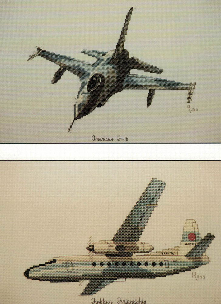 Aircraft F16 and Fokker Friendship - A Ross Originals cross stitch chart