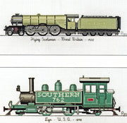 Locomotives - Flying Scotsman and Lyn - A Ross Originals cross stitch chart