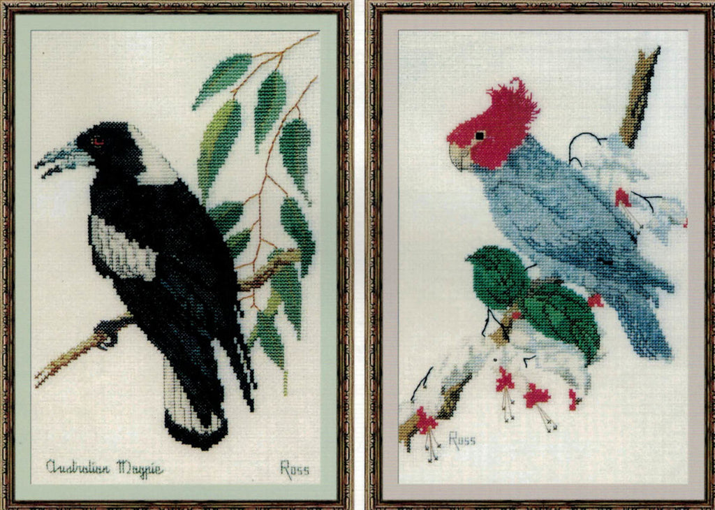 Magpie and Gang Gang Cockatoo - A Ross Originals cross stitch chart