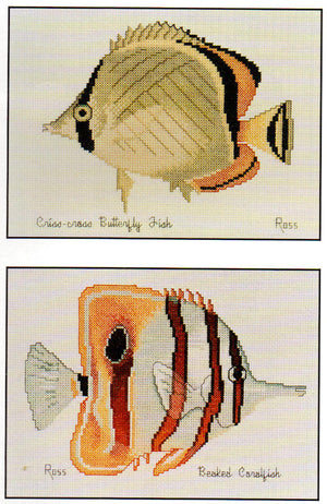 Criss-Cross Butterfly and Beaked Coralfish - A Ross Originals cross stitch chart