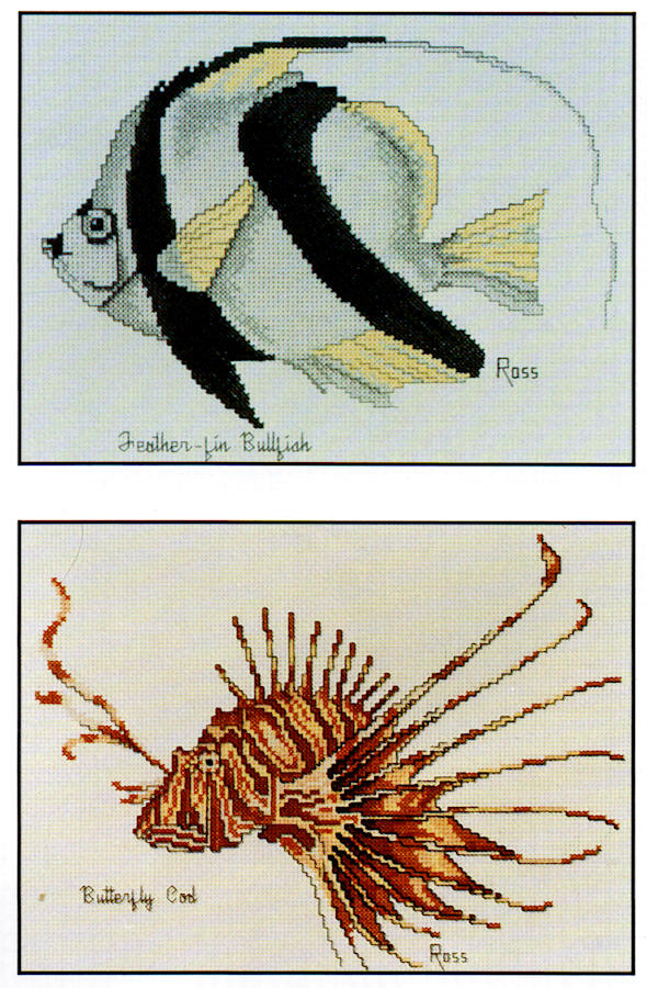 Feather-fin Bullfish and Butterfly Cod - A Ross Originals cross stitch chart