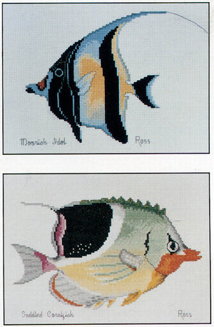 Moorish Idol and Saddled Coralfish - A Ross Originals cross stitch chart