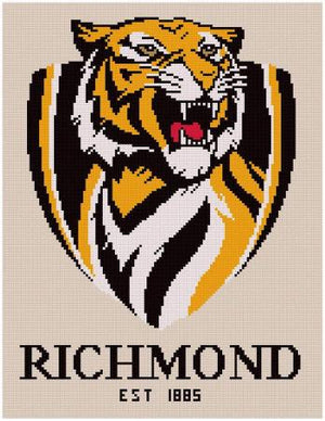 Richmond Tigers AFL Cross Stitch Design - stitchaphoto