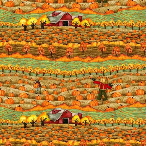 Time to Harvest Quilting Fabrics - Pumpkin Fields - 1.5m length