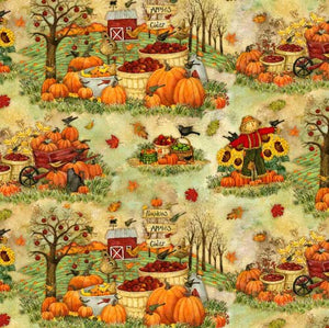 Time to Harvest Quilting Fabrics - Scarecrow and Pumpkins - 0.65m length