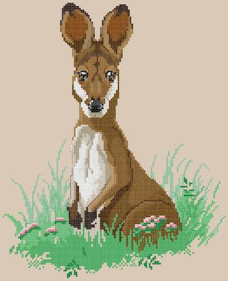 Spring Time Kangaroo Cross Stitch Design - stitchaphoto