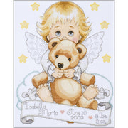 Angel with Bear Birth Sampler - A Tobin Home Crafts counted cross stitch kit