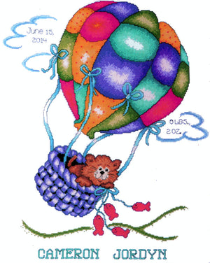 Up Up and away Kitty Birth Record - A Tobin Home Crafts counted cross stitch kit
