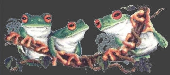 Green Tree Frogs - A Country Threads Tapestry Canvas
